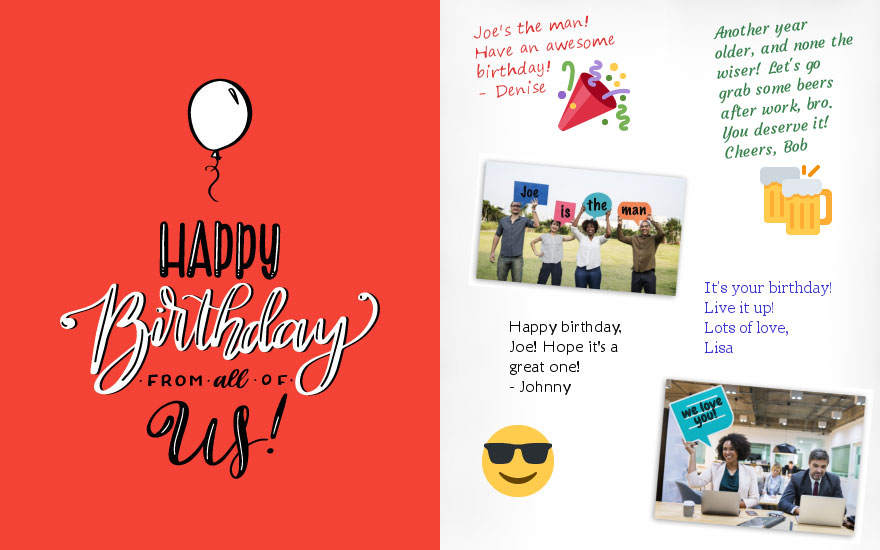 Sample Of A GroupGreeting Birthday Card Signed By Multiple Coworkers With Personal Photos And Stickers